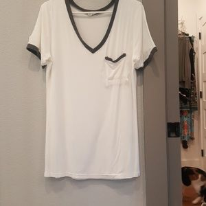 White slouch tee